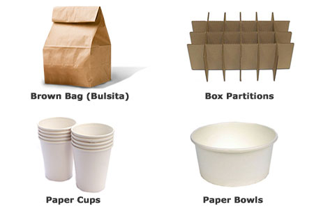 paper cup box partitions brown bag supplier cebu